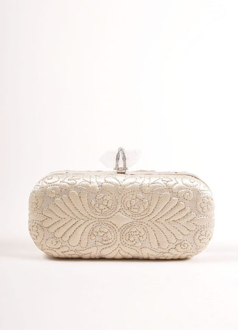 "Marchesa Beige ""Oyster"" Embroidered Satin Quartz Latch ""Lily"" Clutch Bag Frontview"