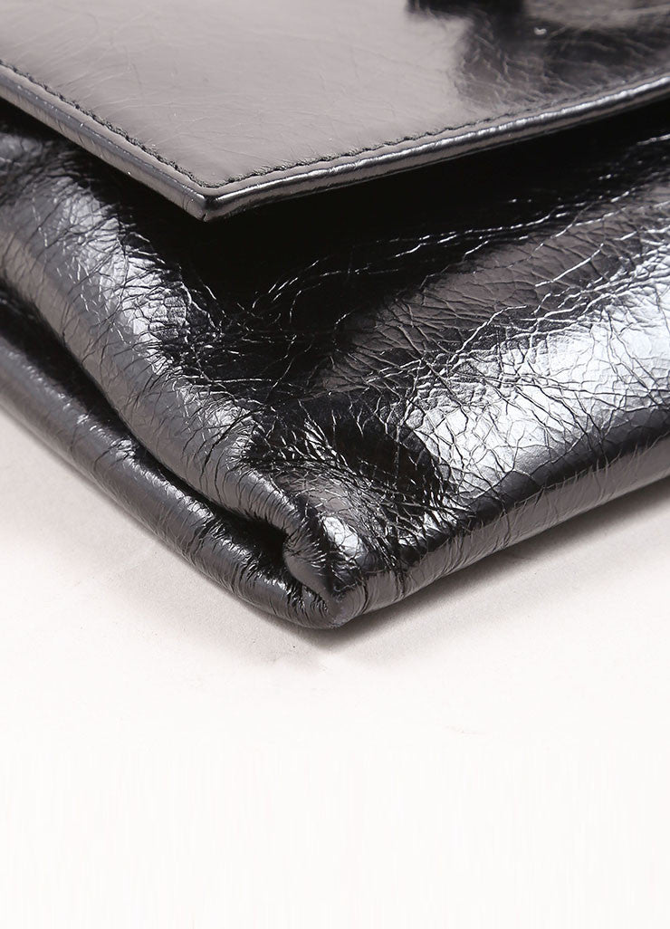 "Miu Miu Black Crackle Leather Jewel ""Shine Cristal"" Flap Wallet Detail"
