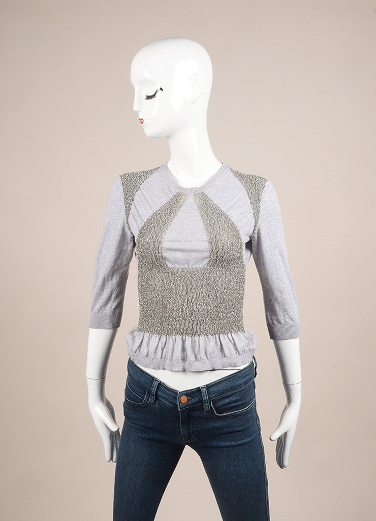 Miu Miu Grey Stretch Knit Smocked Metallic Embellished Crop Sleeve Sweater Top Frontview