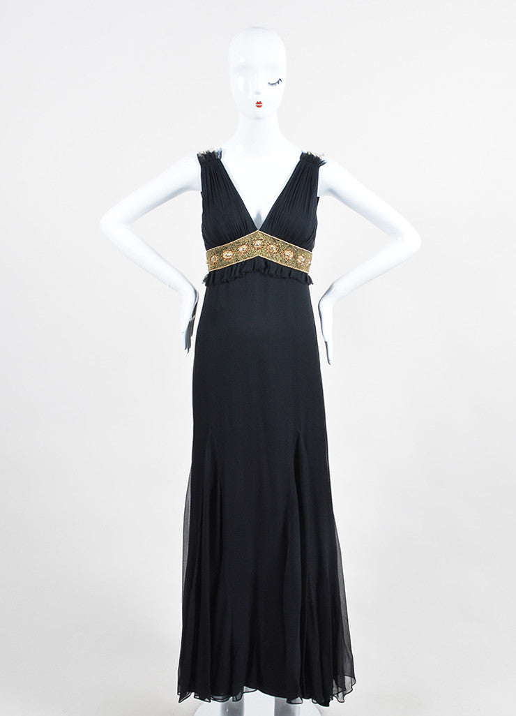 Black and Gold Monique L'huillier Silk Beaded Empire Waist V-Neck Gown Frontview