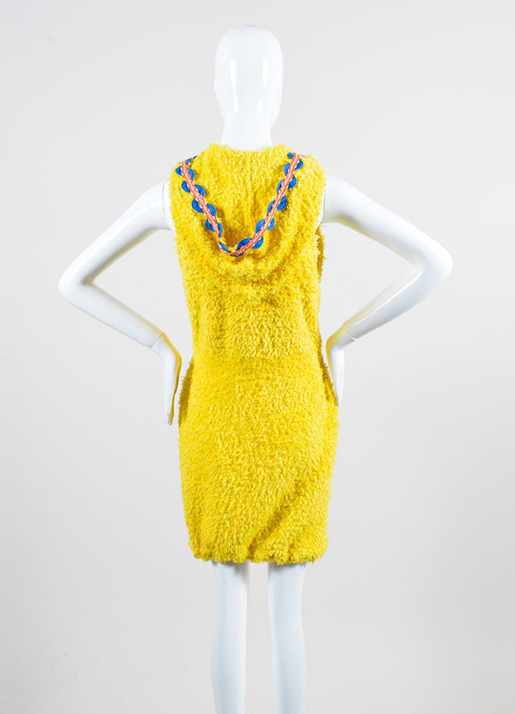 Yellow and Multicolor Moschino Couture! Hooded Ribbon Wave Trim Zip Dress Backview