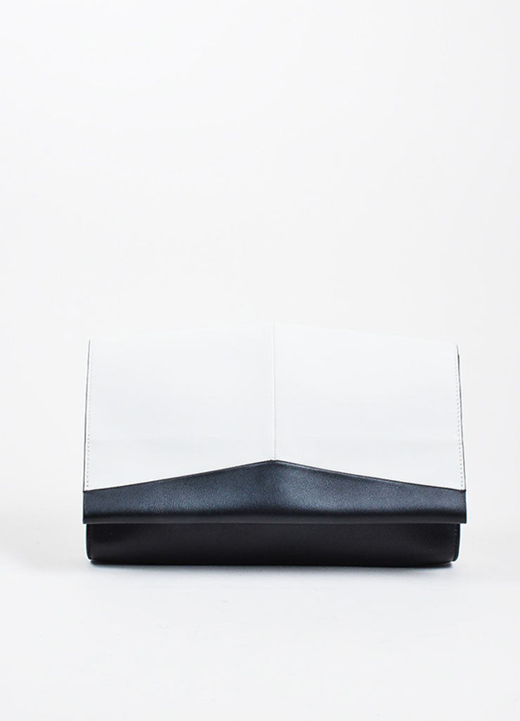 "Grey and Black Narciso Rodriguez Leather Color Block ""Alia"" Clutch Bag Frontview"
