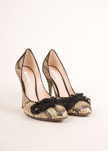 Nina Ricci Cream and Black Snakeskin Bead Embellished Pumps Frontview