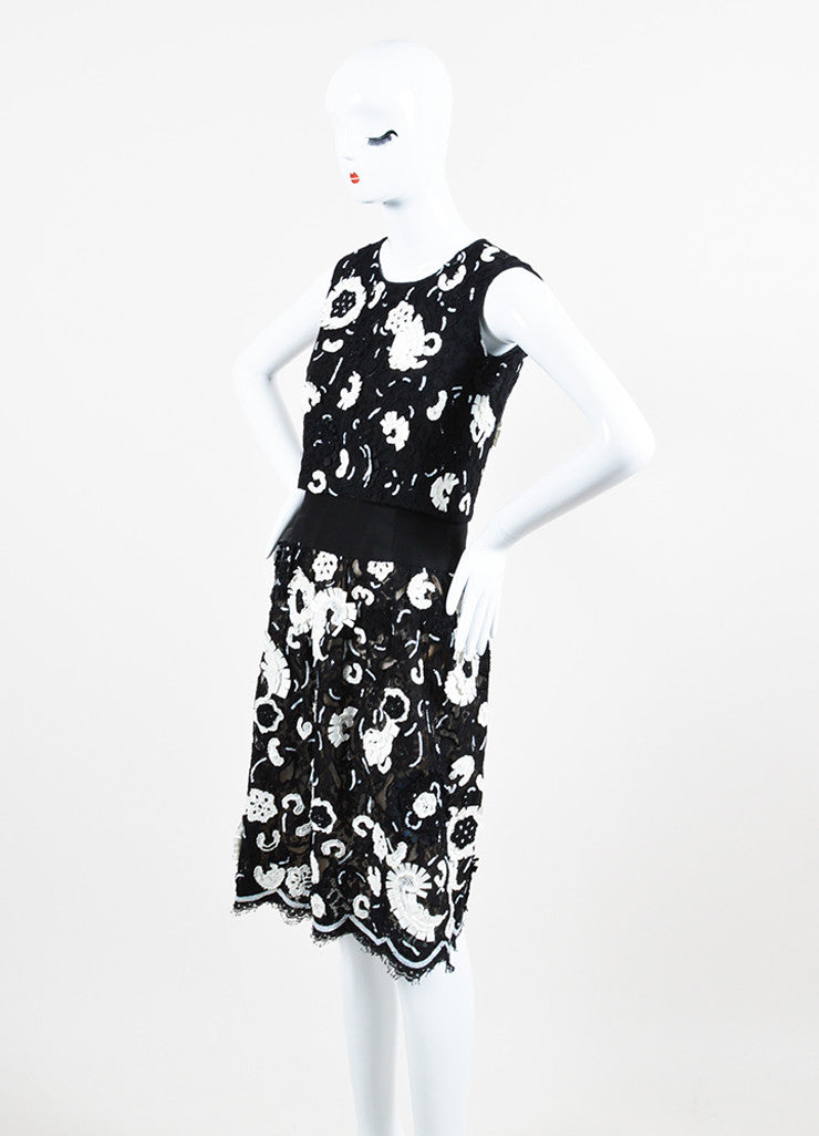 Black and White Oscar de la Renta Floret Sequin Lace Tiered Sleeveless Shift Dress Sideview