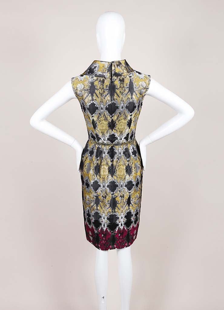 Oscar de la Renta Multicolor Metallic Jacquard Sleeveless Belted Sheath Dress Backview