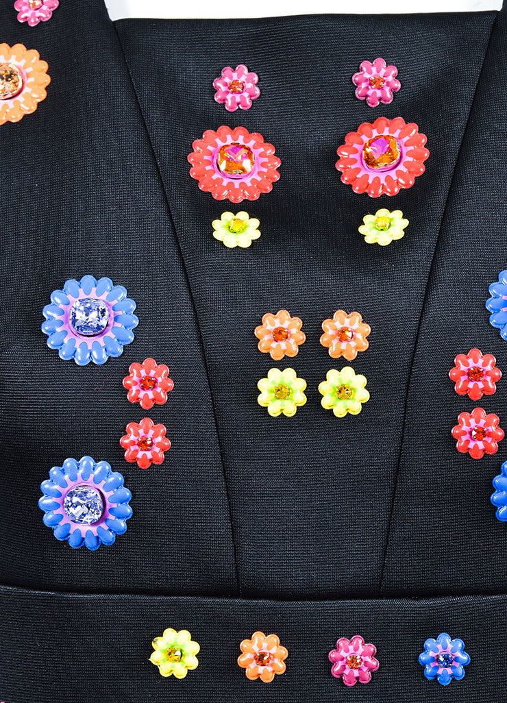 "Black and Multicolor Peter Pilotto Embellished Sleeveless ""Cali"" A-Line Dress Detail"
