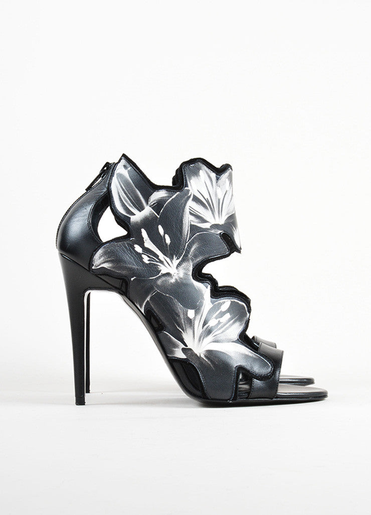Pierre Hardy Black and White Printed Lily Leather Sandals Sideview