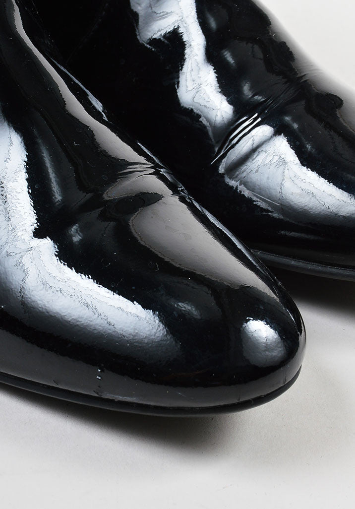 Black Prada Patent Leather Flat Ankle Boots Detail