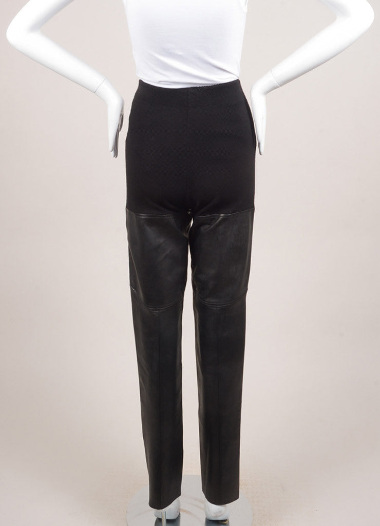 New With Tags Black Cotton and Leather Ribbed Knit Leggings