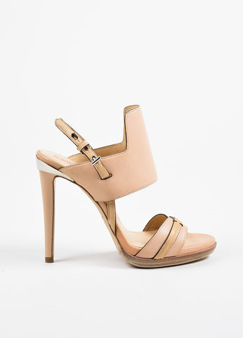 Reed Krakoff Pink, Silver, and Beige Leather Platform Stiletto Sandals Sideview