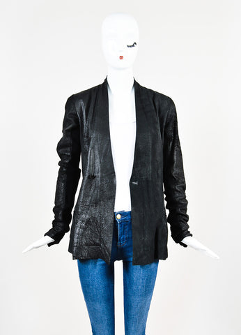 ¥éËRick Owens Black Leather Wool Knit Contrast Distressed Jacket Frontview