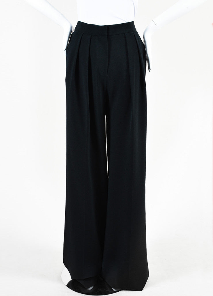 "Roksanda Black Crepe Wide Leg High Waist ""Cady"" Trousers Frontview"
