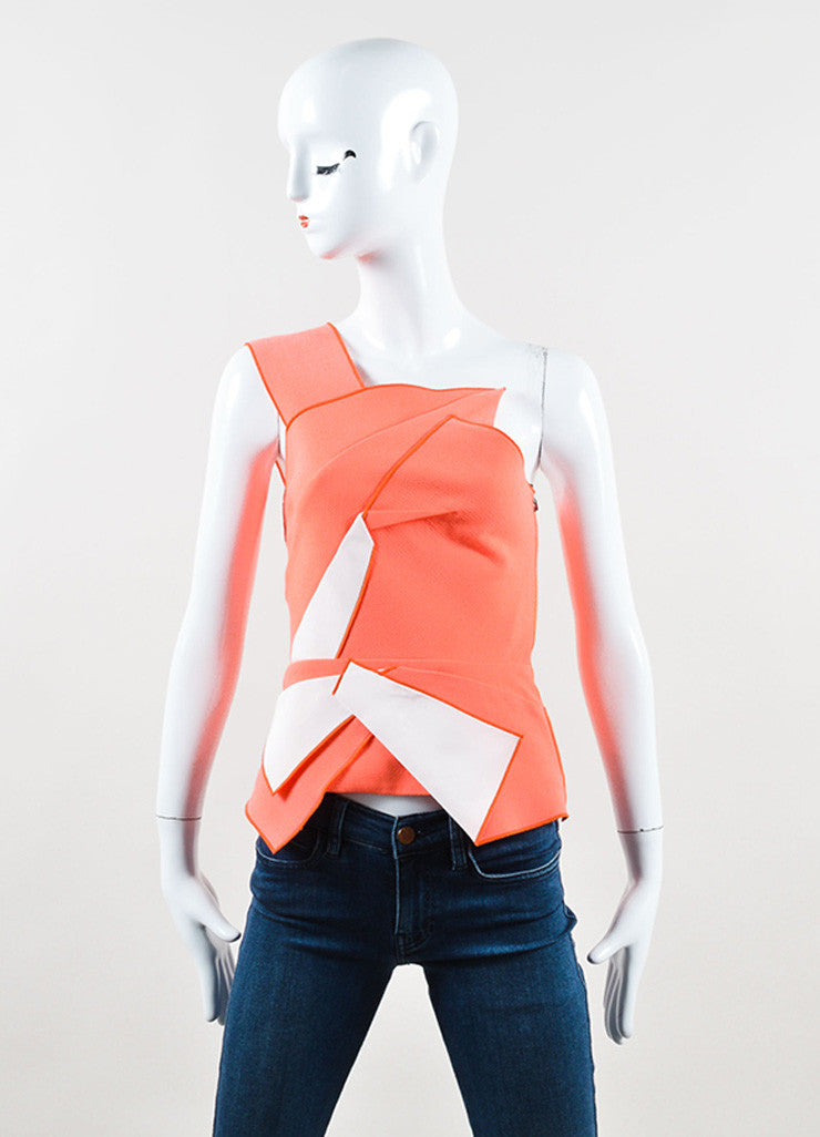 "Roland Mouret Neon Orange and Cream One Shoulder ""Soulton"" Top Frontview"