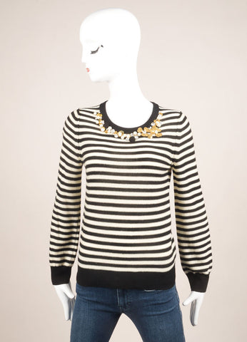Sonia by Sonia Rykiel Black and Cream Wool Stripe Embellished Sweater Frontview