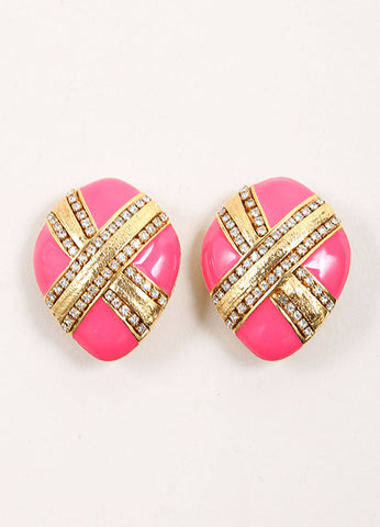 St. John Gold Toned and Pink Rhinestone Embellished Oversized Earrings Frontview