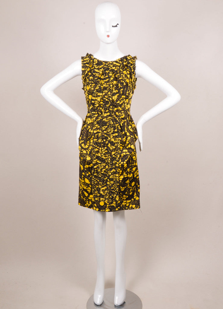 Thakoon Yellow, Black, and Brown Cotton Printed Ruffle Shift Dress Frontview