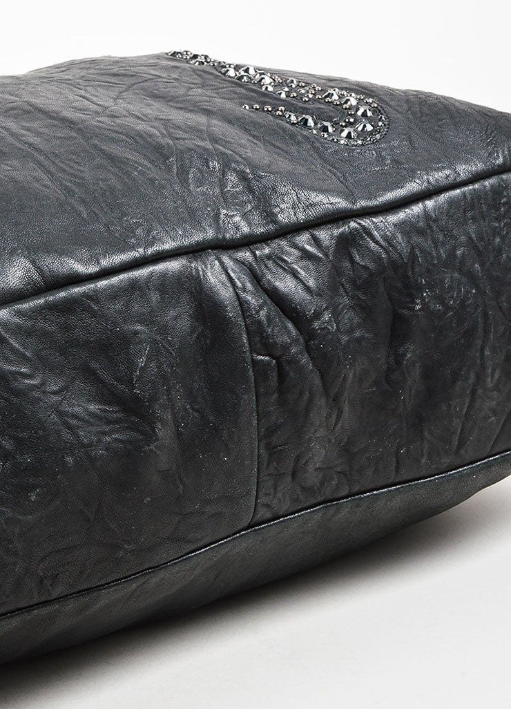 "Thomas Wylde Black Gunmetal Distressed Leather Jeweled ""Colossus Scorpion"" Bag Bottom View"