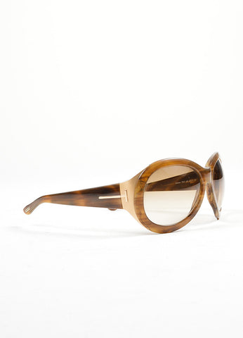 "Tom Ford Brown and Gold Toned Resin ""Elisabeth"" Oversized Sunglasses Sideview"
