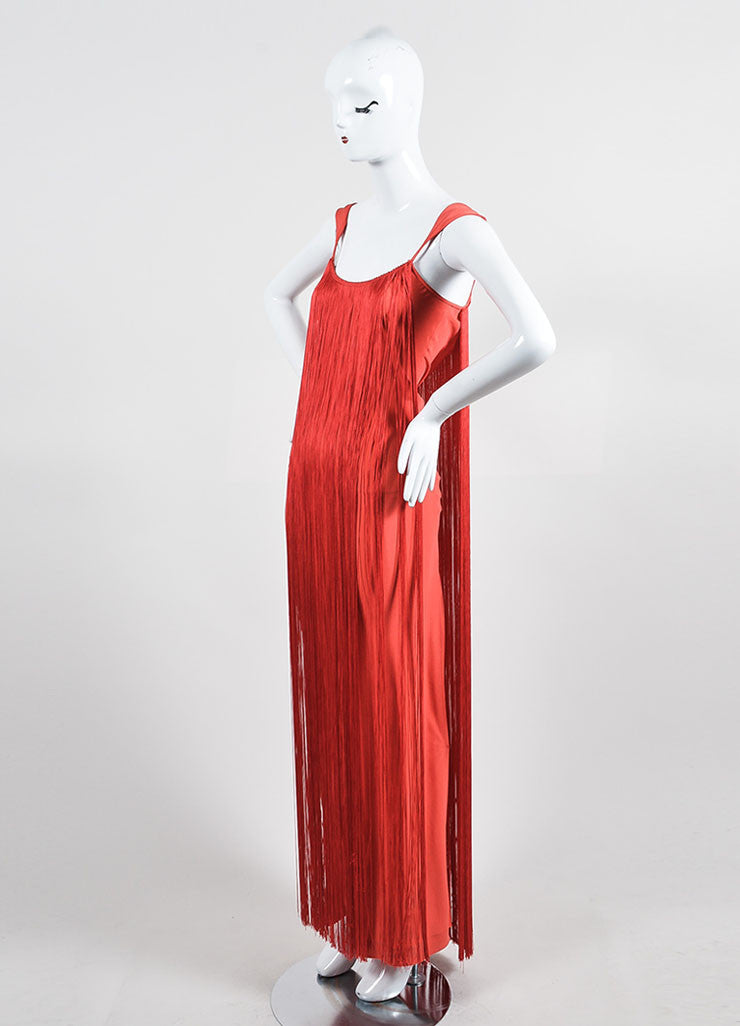 Red Tom Ford Draped Fringe Sleeveless Gown Side