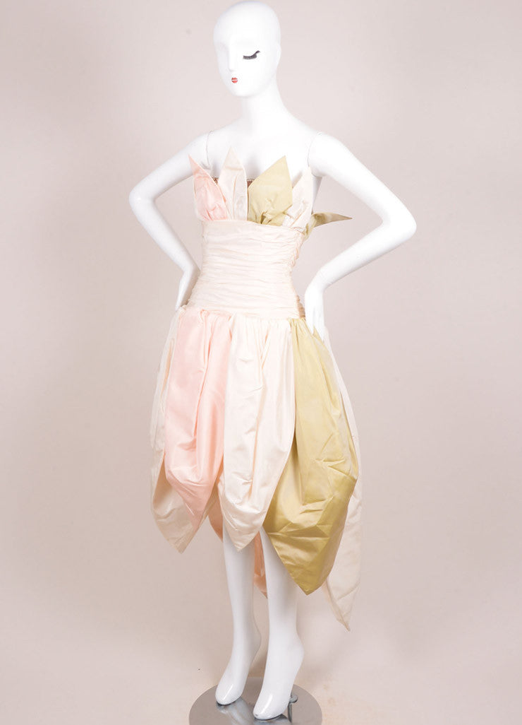 Bob Mackie Cream, Pink, and Green Silk Leaf Ruched Strapless Gown Sideview