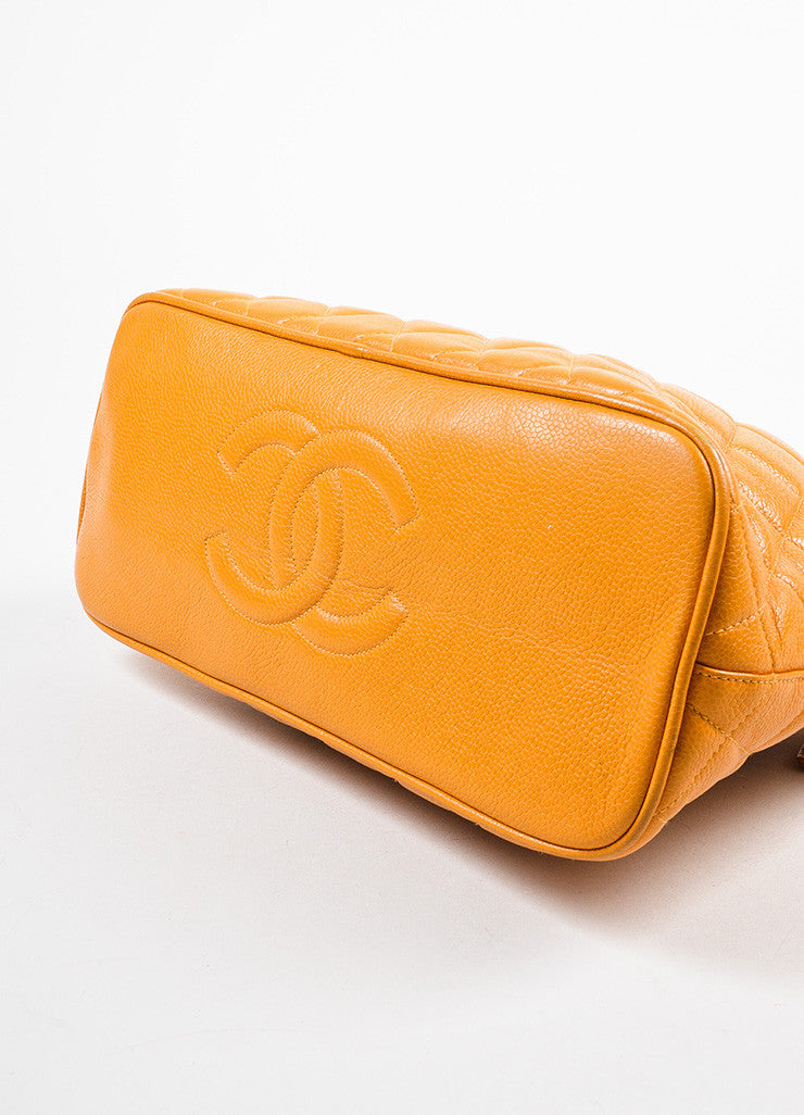 Chanel Orange Quilted Caviar Leather Shoulder Bag Bottom View