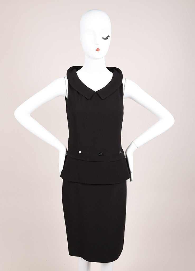 Karl Lagerfeld Black Peplum Sleeveless Dress Frontview