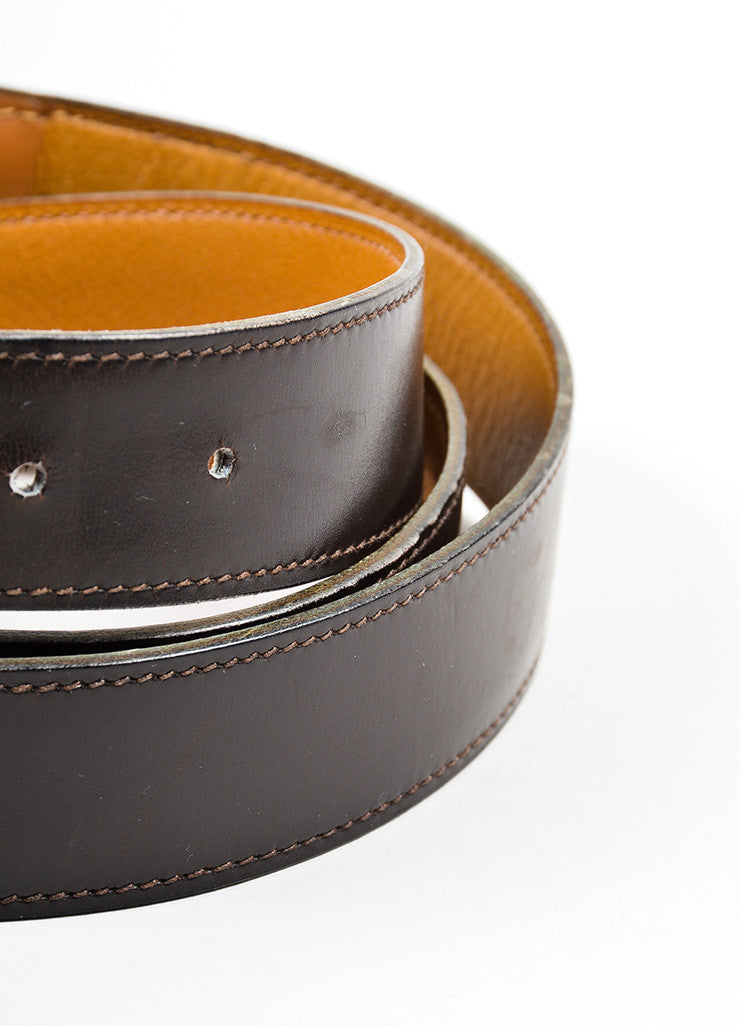 Men's Hermes Brown Leather Silver Buckle Belt Detail