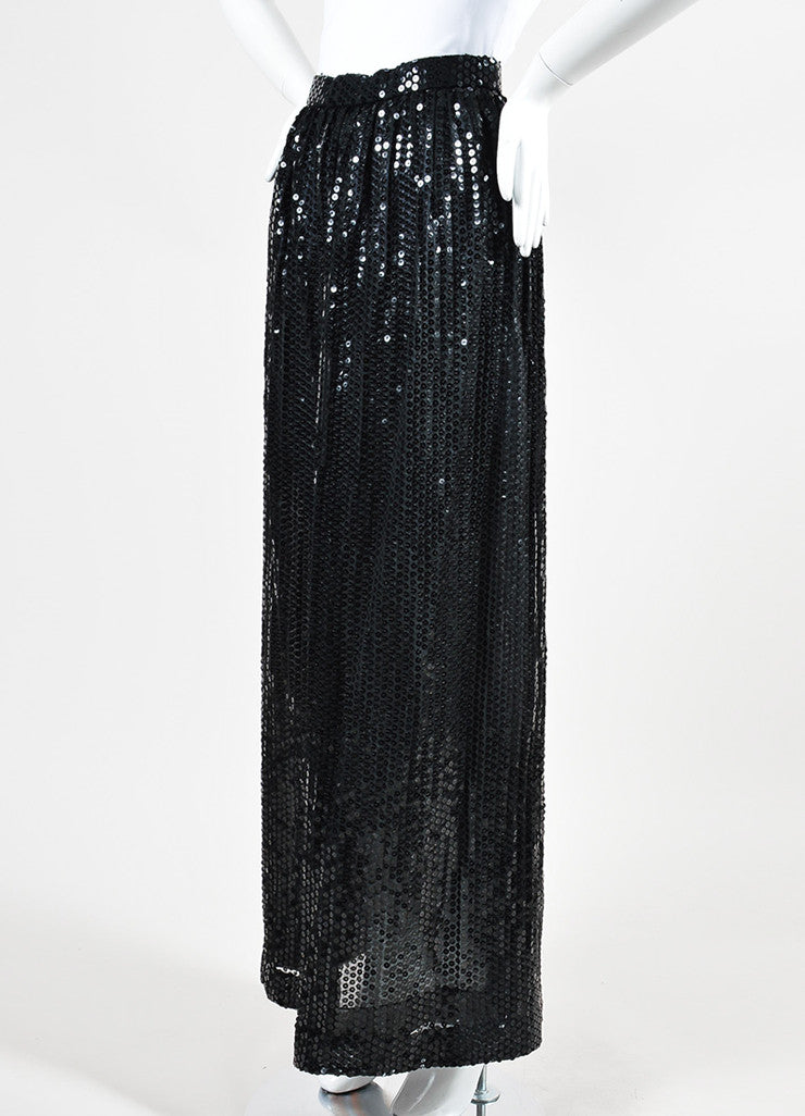 Black Oscar de la Renta Sequin Embellished Pleated Maxi Skirt Sideview