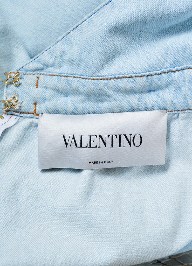 Light Blue Valentino Denim V-Neck Braided Trim Sleeveless Romper Brand
