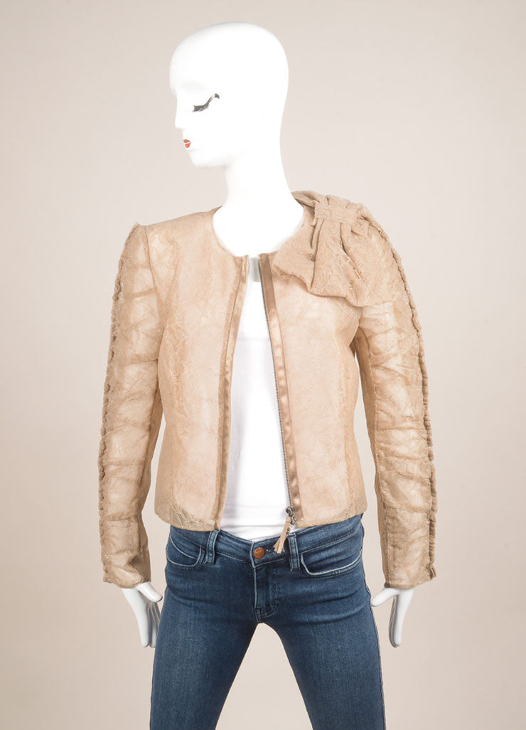 Valentino Taupe Laced Ruched Bow Embellished Zip Jacket Frontview