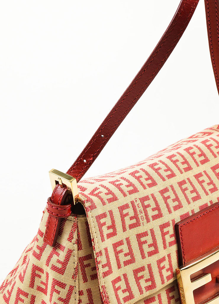 Fendi Red and Tan Monogram Canvas and Leather 'FF' Top Flap Small Shoulder Bag Detail 2