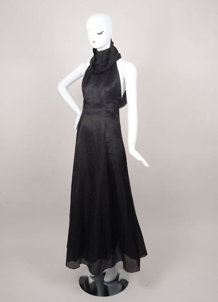 Black Turtleneck Racerback Evening Gown