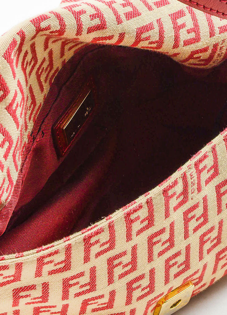 Fendi Red and Tan Monogram Canvas and Leather 'FF' Top Flap Small Shoulder Bag Interior