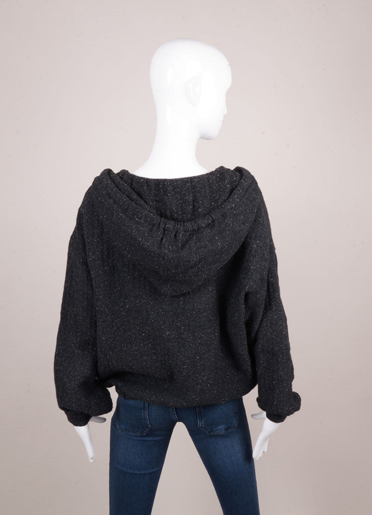 Charcoal Grey Speckled Cotton Blend Hooded Pullover