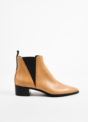 "Beige Acne Studios Grain Leather ""Jensen"" Chelsea Boots Side"