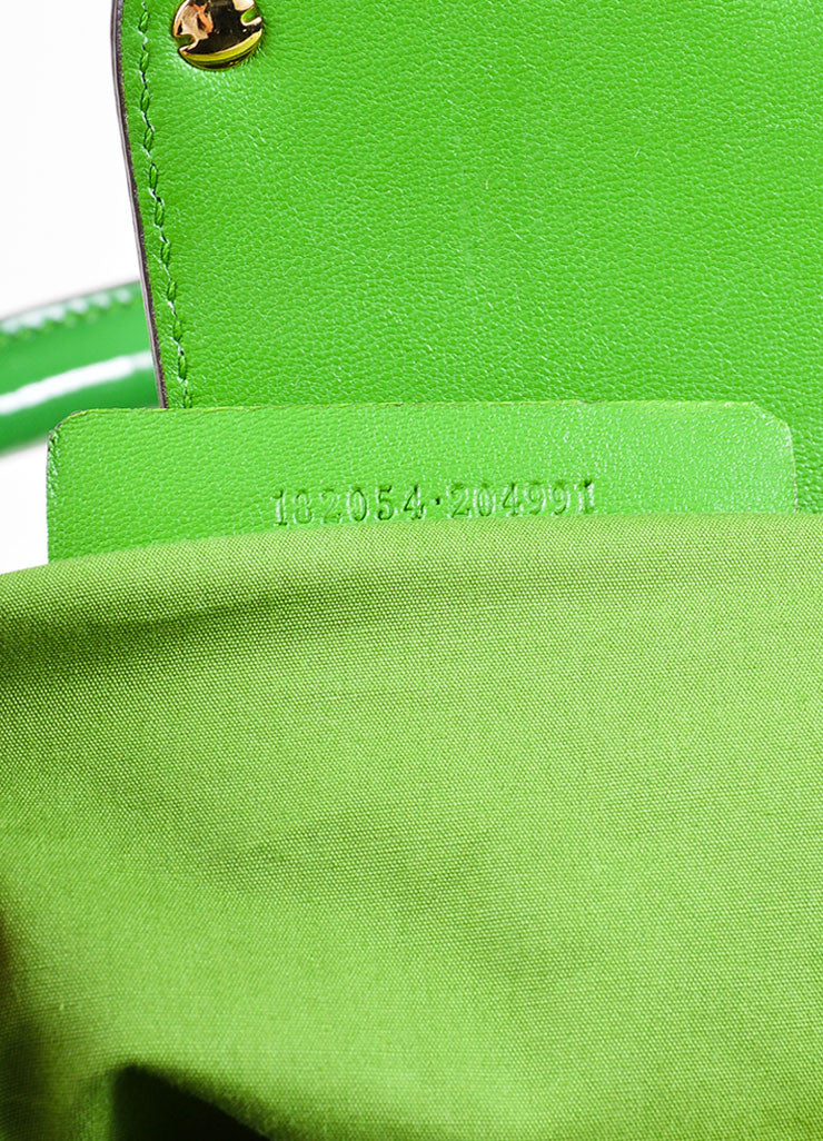 "Green Alexander McQueen Patent Leather Pleated ""Elvie"" Tote Bag Serial"