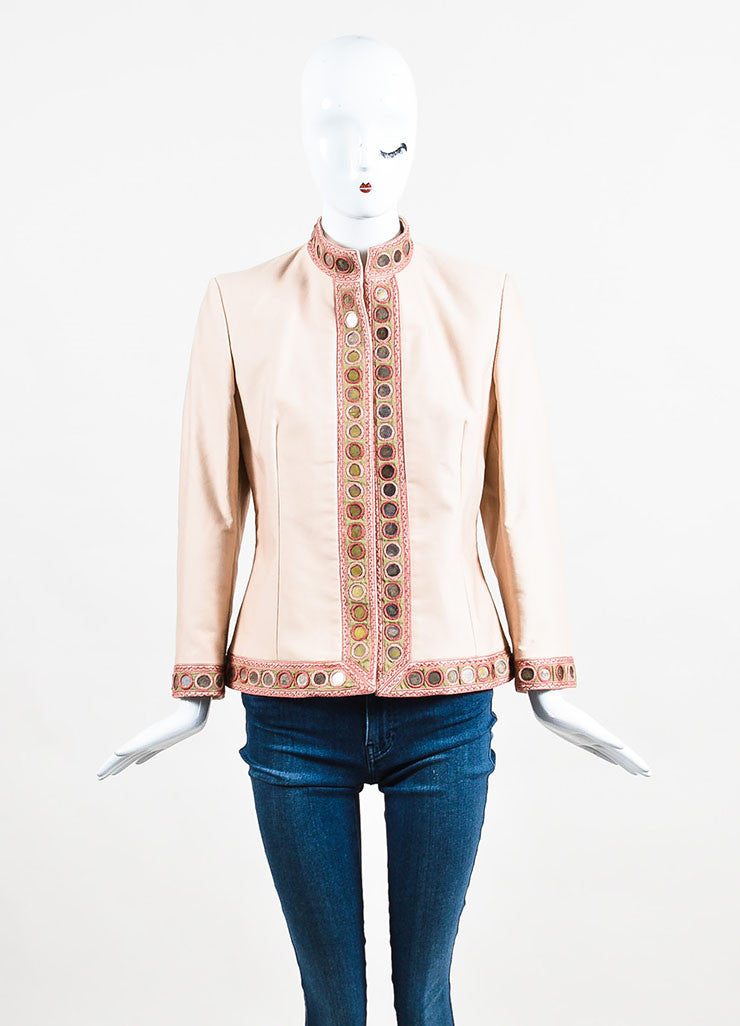Alexander McQueen Beige, Blush, and Green Cotton Blend Embellished Jacket Frontview 2