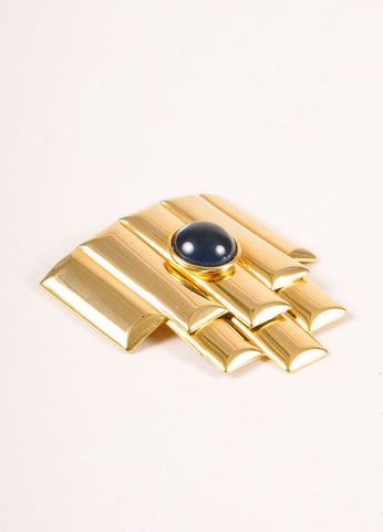 Balenciaga Gold Toned and Blue Glass Geometric Deco Pin Brooch Sideview