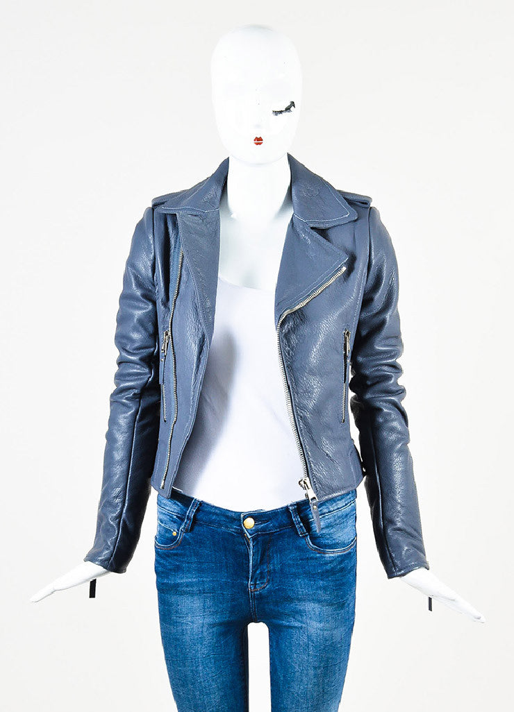 Balenciaga Grey Lamb Leather SHW Collared Motorcycle Jacket Frontview