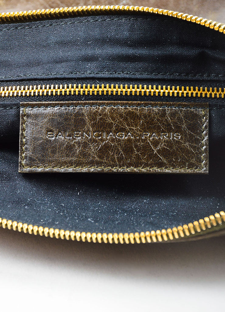 "Balenciaga Olive Green Leather Gold Toned Metal ""Giant 21 Wristlet Clutch"" Pouch Bag brand"