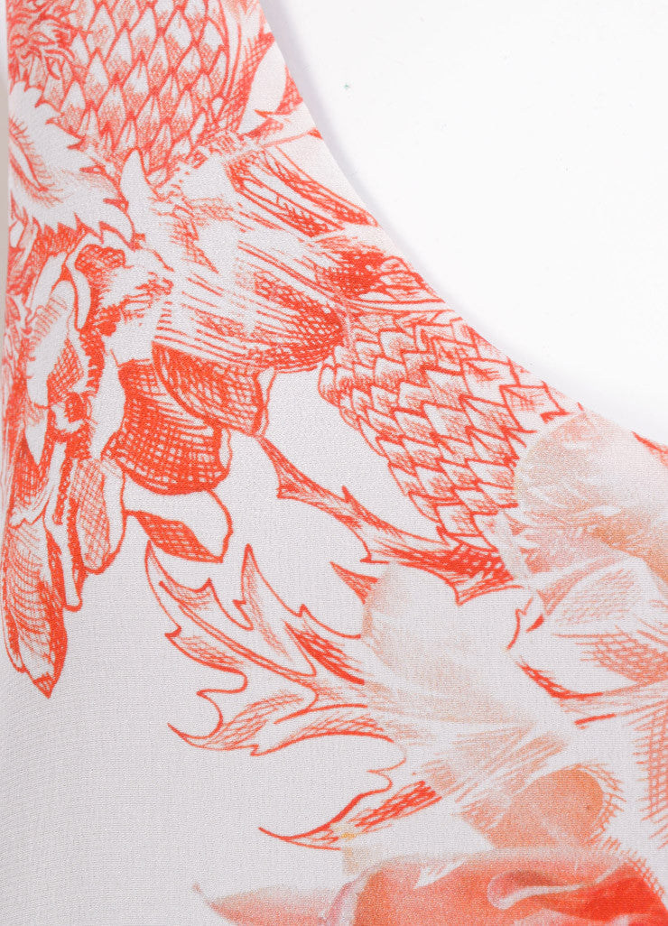 "Barbara Bui New With Tags White and Red Silk ""Toile"" Floral Print Dress Detail"