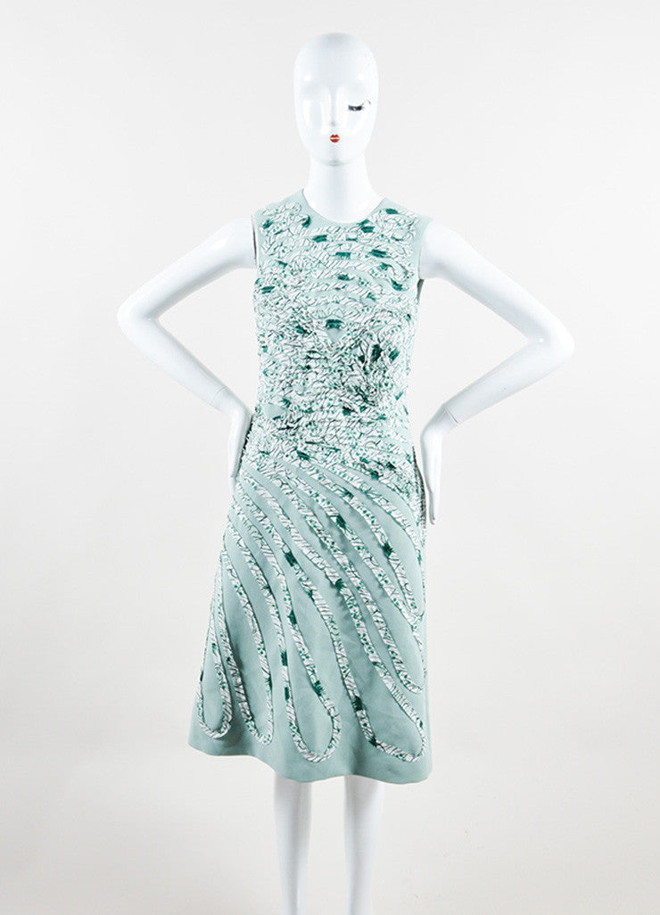 Bottega Veneta  Light Green and White Silk Pattern Sleeveless Sheath Dress Frontview