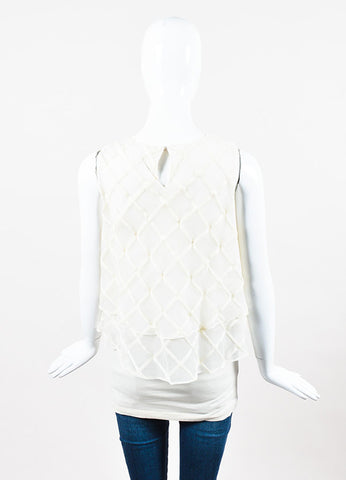 Brunello Cucinelli Cream Organza Lattice Tiered Ruffle Sleeveless Top Backview