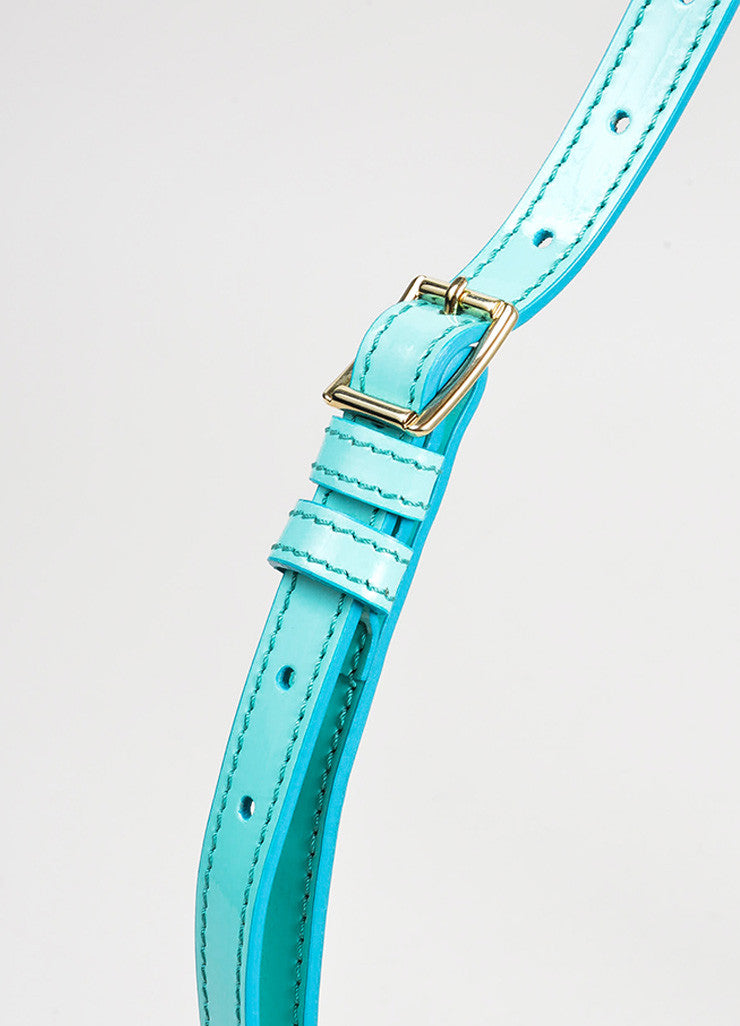 "Aqua Blue Burberry Prorsum Patent Leather Strap ""Bridle"" Shoulder Clutch Bag Detail 2"