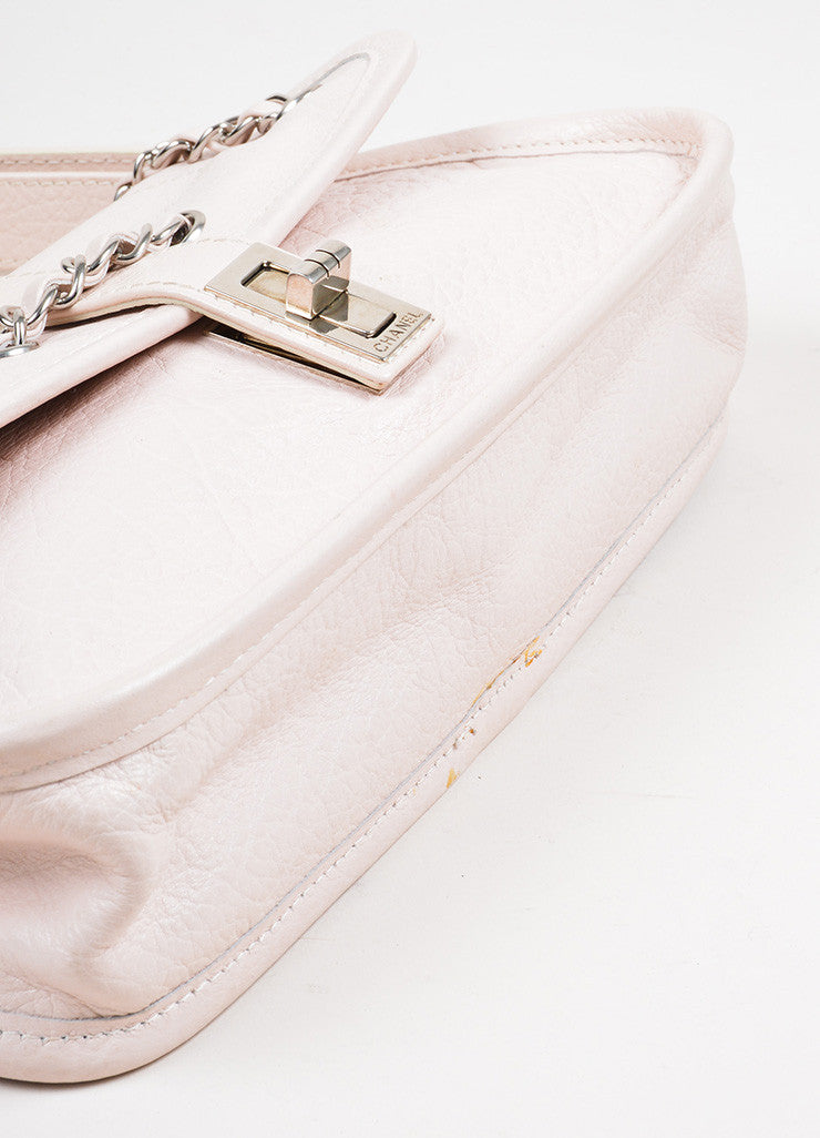 Blush Pink Chanel Reissue Chain Detail Shoulder Bag Bottom View