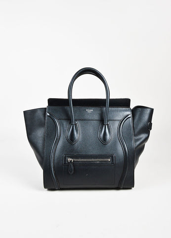 "Celine Black Leather Winged ""Mini Luggage Tote"" Bag Frontview"