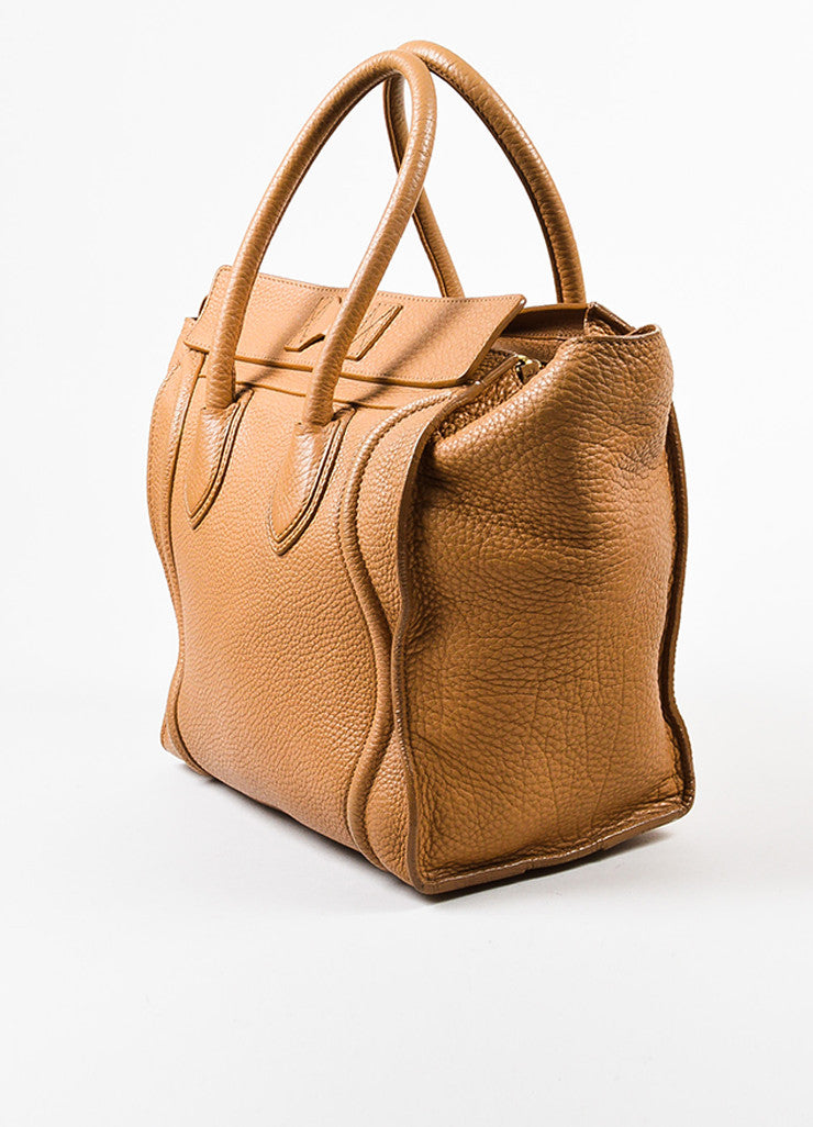 "Celine Brown Pebbled Leather ""Mini Luggage Shoulder Tote"" Bag Sideview"