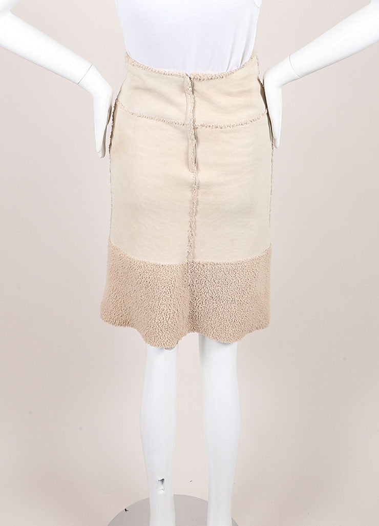 Chanel Beige Suede Shearling Lambswool A Line Skirt Backview