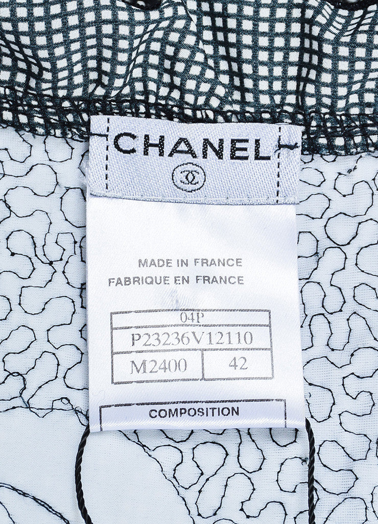 Black and White Chanel Gingham Ruched Ruffle Open Jacket Brand