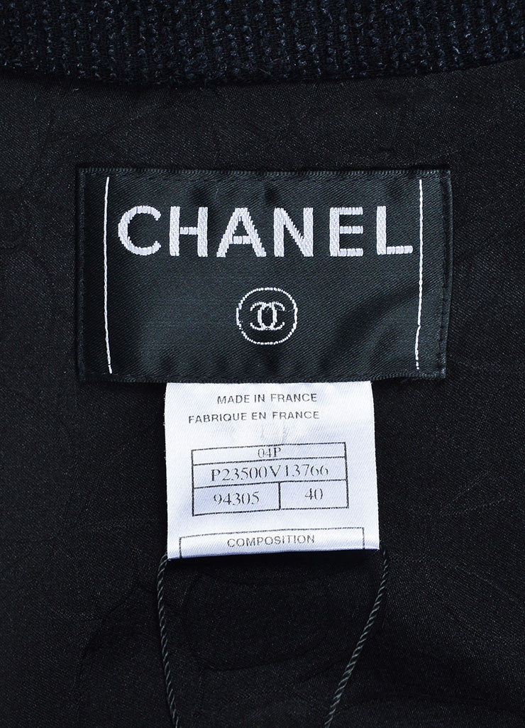Black Chanel Wool and Silk Ribbed Texture 'CC' Button Fringe Jacket Brand